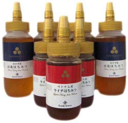 近藤養蜂場 ベトナム産ライチ蜂蜜 250g×3個 & カナダ産百花蜂蜜 485g×4個セット