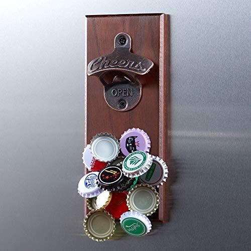 Magnetischer Flaschenöffner mit Kappenfänger, Holz Wandmontage Opener,Ideales Geschenk für Bierliebhaber, Verwendung als Dekoration für die Küche im Garten.