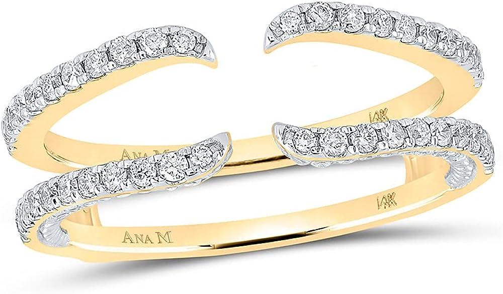 14kt Yellow Gold Womens Round Diamond Wrap Ring Guard Enhancer 1/2 Cttw