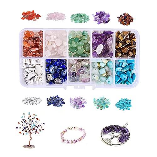DIY piedras preciosas con agujero piedras preciosas 5-8 mm forma natural perlas gemas chips Beads DIY joyas Set de accesorios para pendientes collar pulseras DIY niñas mujeres (10 celdas)
