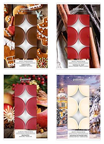 levandeo 24 Teelichter 4x6 Stück Weihnachtsmärchen, Vanille & Zimt, Lebkuchen und Bratapfel Duftkerzen Deko Kerzen Aroma Duft Weihnachtsdüfte Weihnachtlich