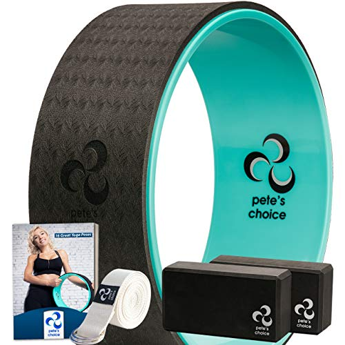 pete's choice Yoga Set for Beginners – Yoga Wheel Kit + 2 Yoga Blocks, Bonus eBook & Free Yoga Strap | Yoga Starter Kit for Beginners | Ideal Yoga Gift