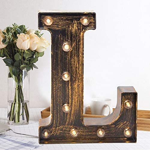 Oycbuzo Golden Black Led Marquee Letter Industrial Vintage Style Light Up Alphabet Letter Sign product image
