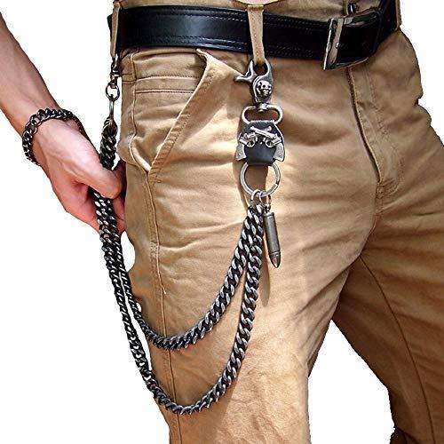 CADITEX Kette für Jeans, Männer Radfahrer Hip Hop Rock Punk Gothic Kugel Gewehr Jeans Hosen Kette Hosenketten Schlüsselkette Gürtelkette (1-Kugel)