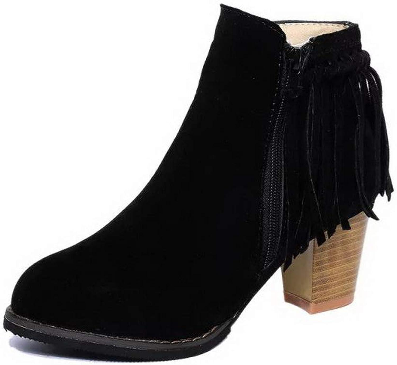 WeenFashion Women's Low-Top Zipper Frosted Kitten-Heels Round-Toe Boots, AMGXW037962