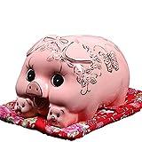 Maweiwei-Store Tirelire Décoration, Multifonctionnel Creative Sculpture en Céramique Salon Meuble Décoration Artisanat Cadeau pour Enfants (26 * 18 * 18 cm) (Color : Pink)