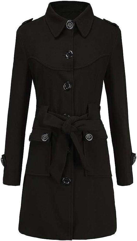 Fanxing Damen Winter warme Wollmantel Trench Parka Jacke Gürtel Mantel Outwear Schwarz