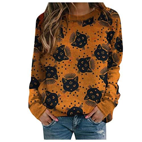 Xmiral Damen Langarm Rundhals Sweatshirts Netter Cartoon Gedruckt Pullover für Herbst Winter(d-Gelb,S)