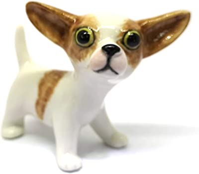 ZOOCRAFT Ceramic Chihuahua Dog Figurine White Hand Painted Miniatures Collectible Personalized Gifts