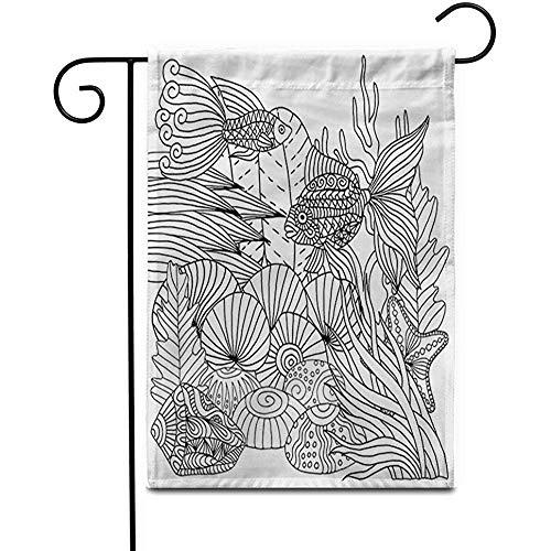 wallxxj Garden Flag Unterwasser Gekritzel Unterwasserwelt Muster Zentangle Wellenförmige Malvorlage Abstrakt Doppelseitig Outdoor Wohnkultur Banner Hof Fahnen Gartenfahne Patio Rasen 32X48Cm