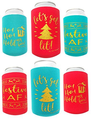 Holiday Festive Can Coolers - 6 Pack | Let's Get Lit Christmas Stocking Stuffer Gifts | Funny Ugly Sweater Party Prize, Favors, Decorations, Supplies, Drink, Beer, Bottle, Dad, Him