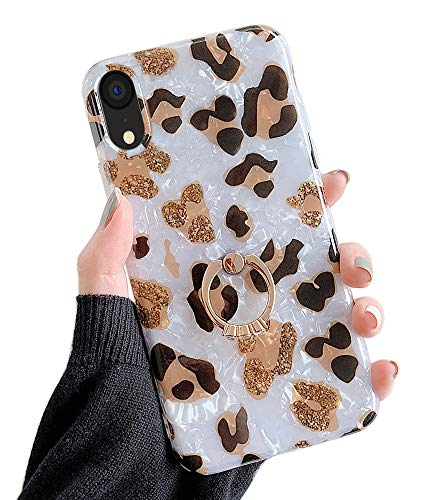 Qokey Compatible with iPhone XR Case,Stand Case Cute Fashion Bling for Men Women Girls with 360 Degree Rotating Ring Kickstand Soft TPU Shockproof Phone Cover Designed for iPhone XR 6.1' Brown Leopard