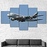 QWASD Cuadro sobre Lienzo,Impresiones En Lienzo,Cuadro En Lienzo 5 Pieza Impresión Lienzo Artística Pintura Diseño Cuadro Moderno Pared Gráfica Vuelos Emirates Airbus A380 Impreso Mural Enmarcado