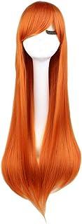 FHKGCD Perruques De Cheveux Synthétiques Longues Droites Cosplay Blonde White Oragen Brown 80 Cm