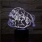 Lucha Lobo 3D LED noche luz dormitorio sala de estar lámpara de mesa decoración regalo