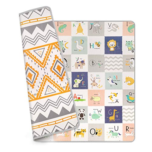 Baby Play Mat, OUNUO Reversible Foam Floor Mat, Waterproof Extra Large Baby Crawling Mats for Playing, Non Toxic Playmat for Infants Babies Toddlers Kids, 78.7
