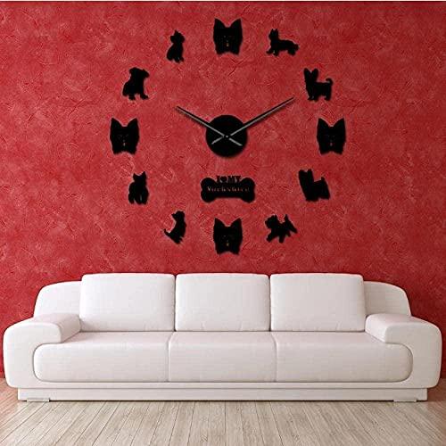 Reloj de Pared silencioso de Yorkshire Terrier con Pegatinas de Pared de Espejo DIY, Reloj de Pared Gigante sin Marco de Manos Grandes, Tienda de Mascotas, Regalo de Propietario de Yorkie-47 Pulgadas