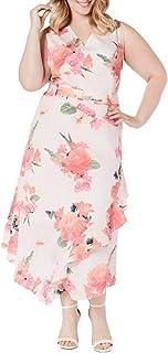 Womens Plus Ruffled V-Neck Maxi Dress