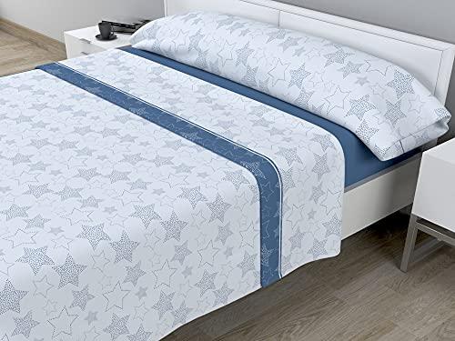 Juego de sábanas térmicas de Pirineo - 3 Piezas - 110 Gr/m2 - Mod. Sky (Azul, Cama de 90 cm (90_x_190/200 cm))