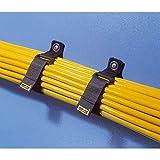 Rip-Tie 1' Wide Eyelet CinchStrap-EG w/ 1x Brass Mounting Grommet - Size 1' x 10', Max Cable Bundle 2.5' Dia, Hook Loop Fastener, 10-Pack, Black