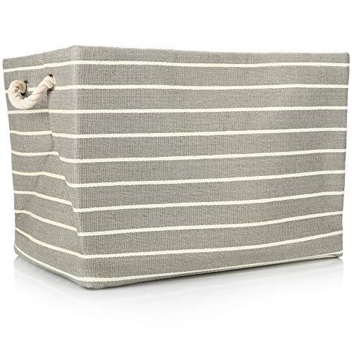 com-four® Gestreifter Aufbewahrungskorb für Decken, Kissen, Wäsche und Spielzeug - große Aufbewahrungsbox ohne Deckel - mit stabilen Seitengriffen
