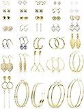 Finrezio 35 Pares Set De Pendientes De Aro Para Mujeres Niñas Pendientes Surtidos Múltiple Cristal Colgar Set De Joyas Con Aretes