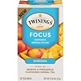 Twinings of London Daily Wellness Tea, Focus Mental Support Ginseng, Mango & Pineapple, Flavored Herbal Tea, 18 Count (Pack of 6)