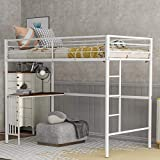 Metal Loft Bed Twin Size with Desk, Loft Bed Full-Length Guardrail, No Box Spring Needed (White (end Table))