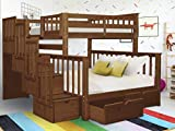 Bedz King Stairway Bunk Beds Twin over Full with 4 Drawers...