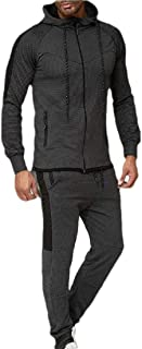 Men's Tracksuit Running Jogging Athletic Sports Jacket and Pants Set Striped Patchwork 2 Pieces Sets