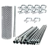 ALEKO KITCLF6X50 DIY Chain Link Fence Kit System Galvanized Steel for Home Business Agriculture 6 x 50 Feet Silver