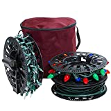 612 Vermont Christmas Light Storage Reel Holder with Installation Clip, Polyester Zip up Bag, Organizes up to 150 Foot of Mini Lights