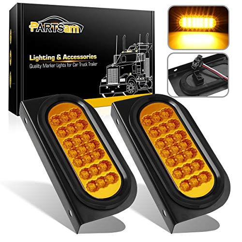"Partsam 2 Pcs Amber Oval 6-1/2"" Sealed LED Turn Signal and Parking Light Kit with Mounting Brackets, Grommet and Plug, Faceted Led Trailer Lights w Amber Reflector on Trailers Less Than 80"" Wide"
