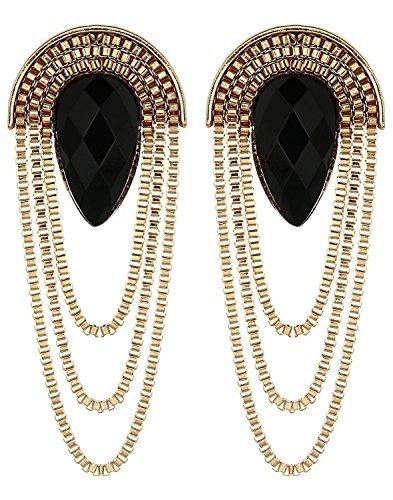 TrifyCore - Pendientes para mujer, elegantes, para fiestas, color negro y dorado