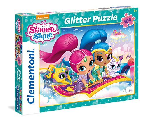 Clementoni Pingüinos De Madagascar Puzzle Glitter 104 Piezas, Shimmer and Shine (27991)