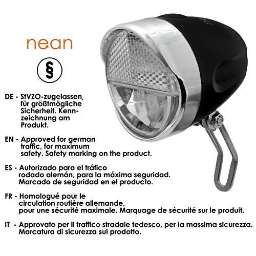 nean Fahrrad LED Frontleuchte Fahrradlampe Fahrradleuchte mit StVZO Zulassung inkl. Batterien, 40 Lux - 2