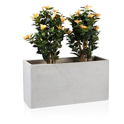 Pot de fleurs VISIO 50 Plastique Bac à Plantes, 100x40x50 cm, terrazzo gris mat, garantie de 8 ans (résistance aux UV), résistant au gel - DECORAS bac à plantes haut de gamme