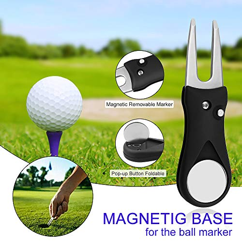 Yotako 2 Pack Micoriber Golf Towels,Golf Accessories, Golf Cleaning Brush Tool Kit with Carabiner Clip,Retractable Club Groove Cleaner Brush,Foldable Divot Repair Tool with Ball Marker