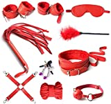 tyufgt6u Leather Exercise Harness Sports Kit of 10pcs ??d?g ?D?M? ?nkl h??dc?ff ?l?v C?ff Cll?r Ch?in Whp Soft Str?p Rs?rain?-Red