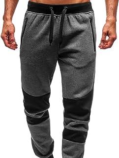 Men Hip Hop Color Block Patchwork Jogging Pant Sports Track Trousers Long Pants