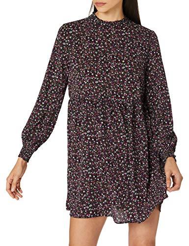 JdY Damen JDYPIPER L/S Short Dress WVN NOOS Kleid, Black/AOP:Fuschia PINK & Vivid Viola Fleur, 40