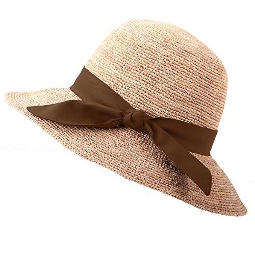 RIONA Damen Sommer Handgewebte Faltbare Wide Brim Fischer 100% Bast Straw Sonnenhut einheitsgröße c002_Coffee