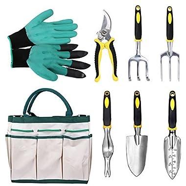 Gardening Tools Garden Tools Set 8 Pieces Gardening Hand Tools with Ergonomic Handles included Trowel Transplanter Cultivator Pruner Weeder Fork Garden Genie Gloves and Canvas Tool Bag, Aunifun