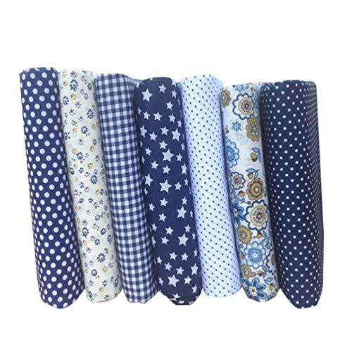 Tecido de algodão feito à mão pequeno floral feito à mão, tecido de algodão azul escuro, tecido têxtil, material de patchwork para costura, sacos de patchwork, roupa de cama, 14 peças