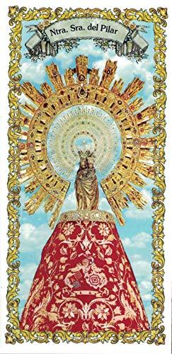 Virgen del Pilar. Azulejo fabricado artesanalmente para decorar. Cerámica para colgar. Calca cerámica. TORO DEL ORO (10x20 cms)