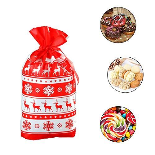 Shengruili 50 Pezzi Confezione Sacchetti di Biscotto,Sacchetti Regalo di Natale,Sacchetto per Caramella,Sacchetti Regalo con Coulisse,Regalo di Natale Sacchetti,Sacchetti di Dolci per Feste (2)