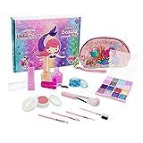 Conjunto de maquillaje para niños lavables para niñas - 14pcs Kids Cosmetic Set con bolsa cosmética de sirena, caja de belleza cosmética no tóxica y no tóxica para 3 4 5 6 años de edad niñas