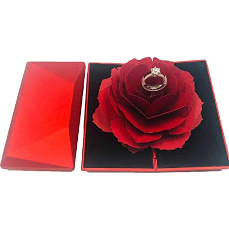 3D Pop-up Rose Ring Box Wedding Engagement Jewelry Storage Holder Case Gift Box