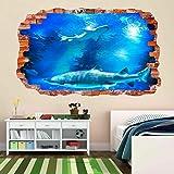 calcomanía decorativo para pared con diseño de peces de tiburón bajo el agua para la habitación de los niños CK51 de 60 x 90 cm