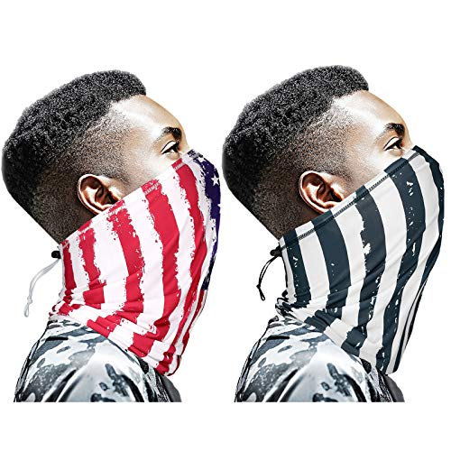 American Flag Neck Gaiter With Drawstring 2PCS US Flag Gators Face Mask Bandana Adjustable Men Women Balaclava Face Cover With Draw Cord For Summer-Large Size Black and Red